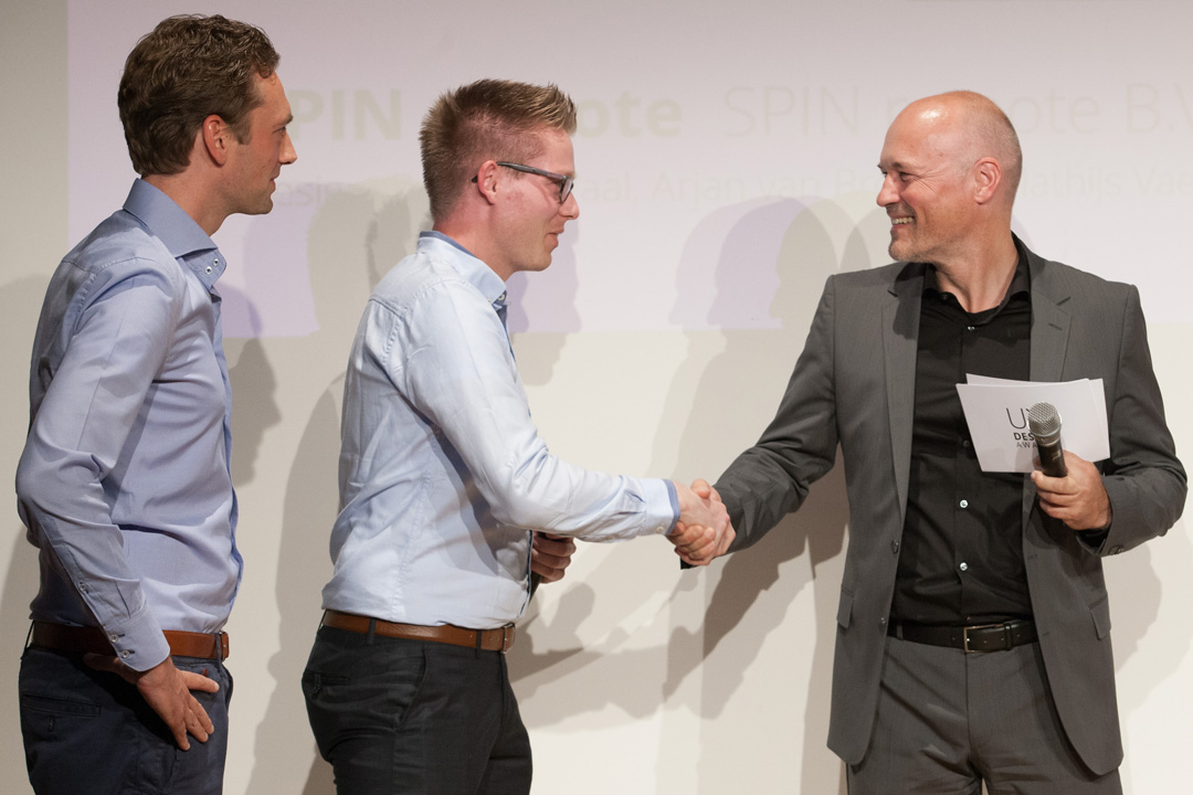 UX Design Awards Ceremony 2015 - The SPIN remote team, receiving the UX Design Award 2015 from Peter Wouda - Design Director, Volkswagen